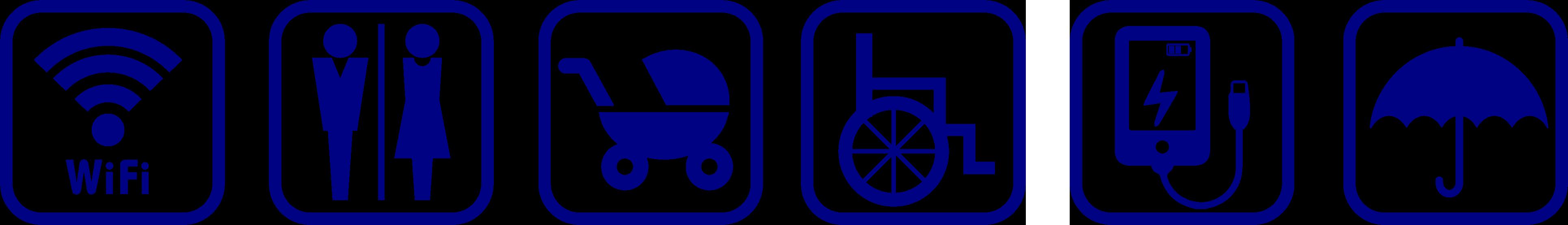 無料wifi 、トイレ、ベビーカー、車椅子、スマホの充電、傘の貸し出しなどのサービスがございます。